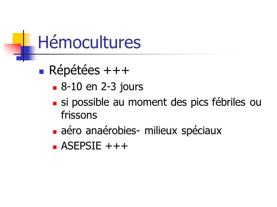 Hémocultures Répétées +++ 8-10 en 2-3 jours si possible au moment des pics fébriles ou frissons aéro anaérobies- milieux spéciaux ASEPSIE +++