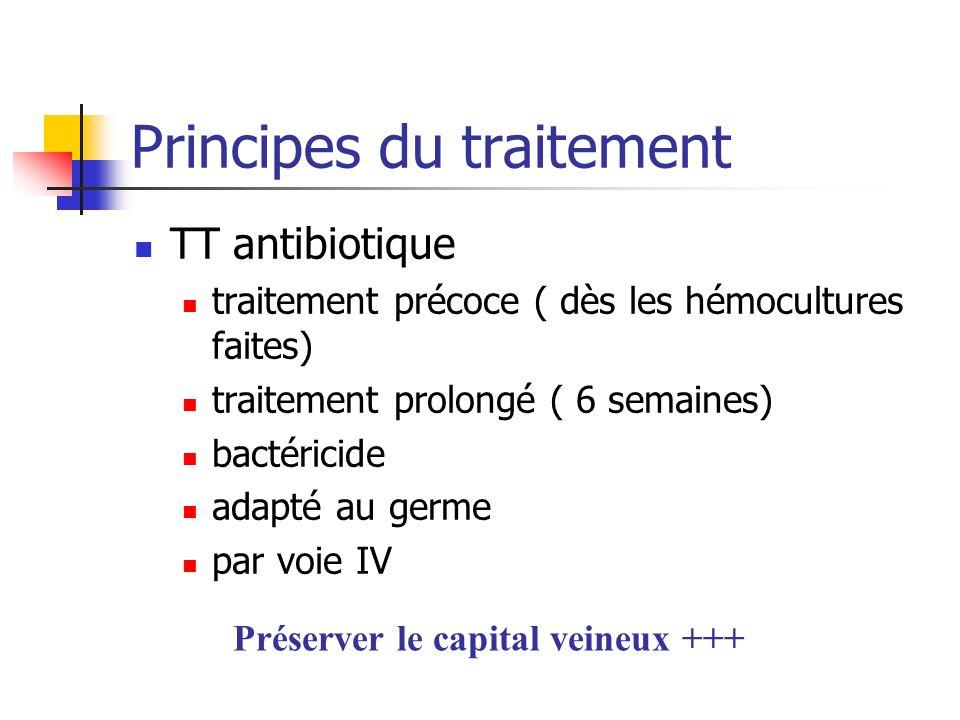 Principes du traitement TT antibiotique traitement précoce ( dès les hémocultures faites) traitement prolongé ( 6 semaines) bactéricide adapté au germ