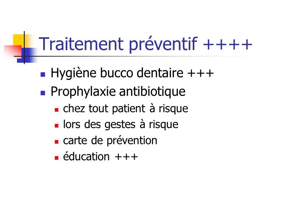 Traitement préventif ++++ Hygiène bucco dentaire +++ Prophylaxie antibiotique chez tout patient à risque lors des gestes à risque carte de prévention
