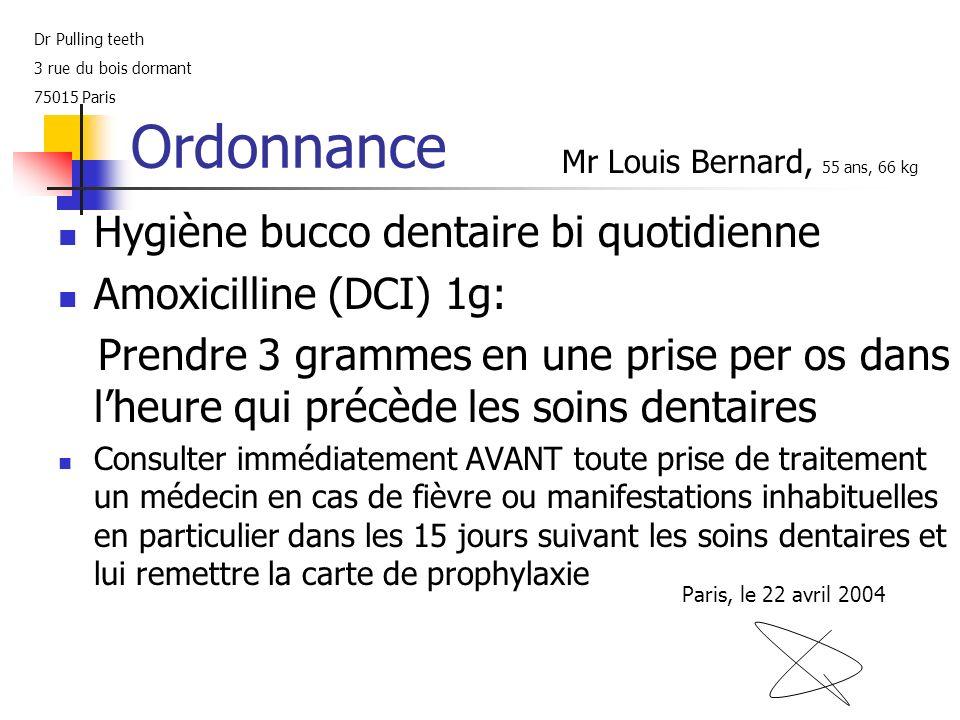 Ordonnance Hygiène bucco dentaire bi quotidienne Amoxicilline (DCI) 1g: Prendre 3 grammes en une prise per os dans lheure qui précède les soins dentai