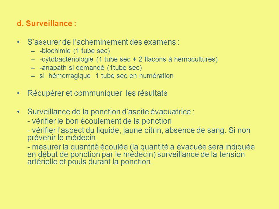 d. Surveillance : Sassurer de lacheminement des examens : –-biochimie (1 tube sec) –-cytobactériologie (1 tube sec + 2 flacons à hémocultures) –-anapa
