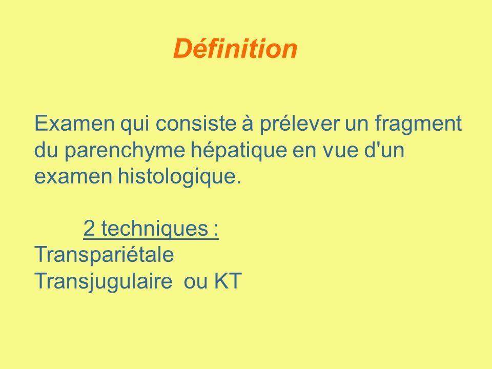 Définition Examen qui consiste à prélever un fragment du parenchyme hépatique en vue d'un examen histologique. 2 techniques : Transpariétale Transjugu
