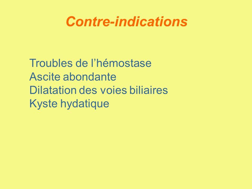 Contre-indications Troubles de lhémostase Ascite abondante Dilatation des voies biliaires Kyste hydatique