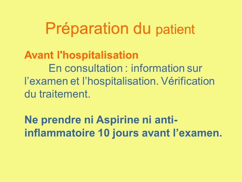 Préparation du patient Avant l'hospitalisation En consultation : information sur lexamen et lhospitalisation. Vérification du traitement. Ne prendre n