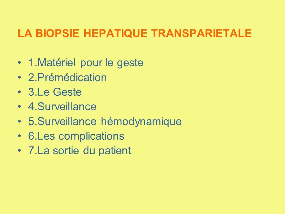LA BIOPSIE HEPATIQUE TRANSPARIETALE 1.Matériel pour le geste 2.Prémédication 3.Le Geste 4.Surveillance 5.Surveillance hémodynamique 6.Les complication