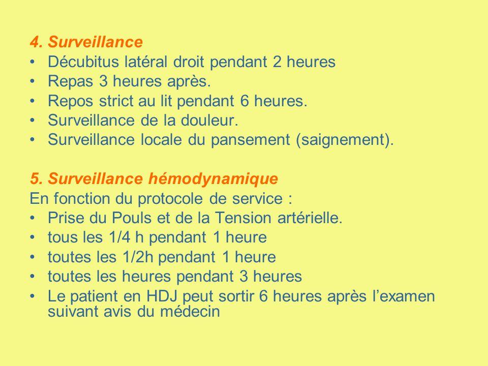 4. Surveillance Décubitus latéral droit pendant 2 heures Repas 3 heures après. Repos strict au lit pendant 6 heures. Surveillance de la douleur. Surve