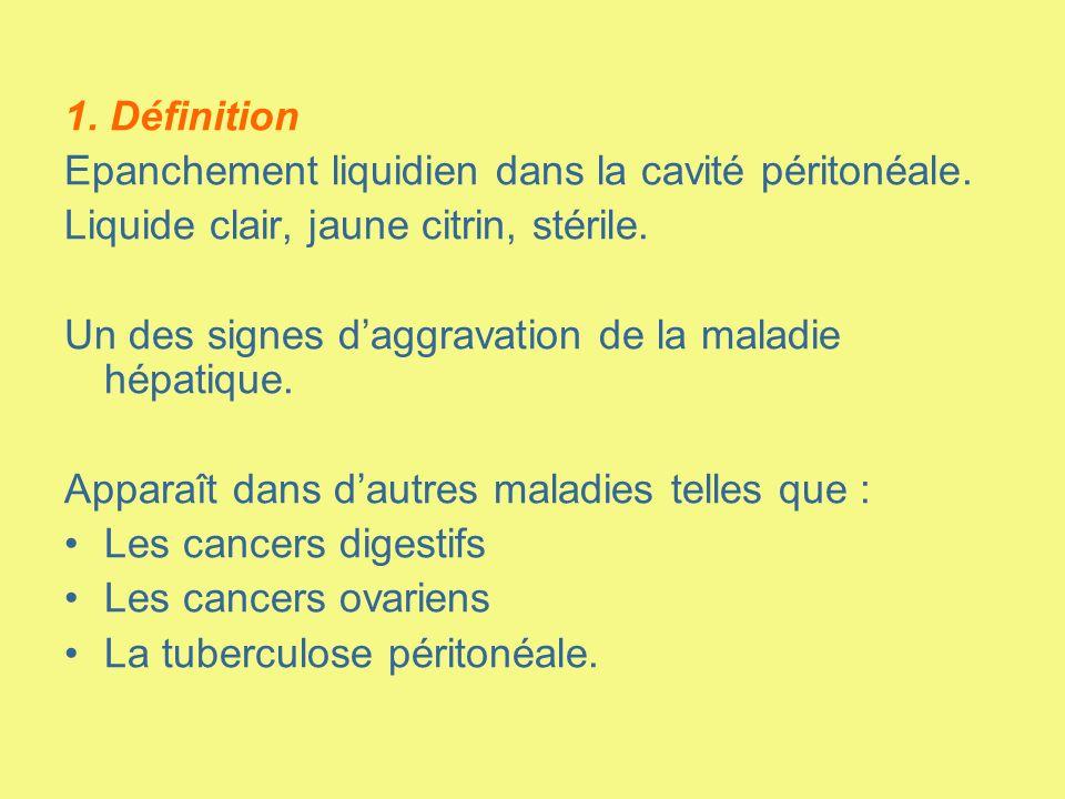 1. Définition Epanchement liquidien dans la cavité péritonéale. Liquide clair, jaune citrin, stérile. Un des signes daggravation de la maladie hépatiq