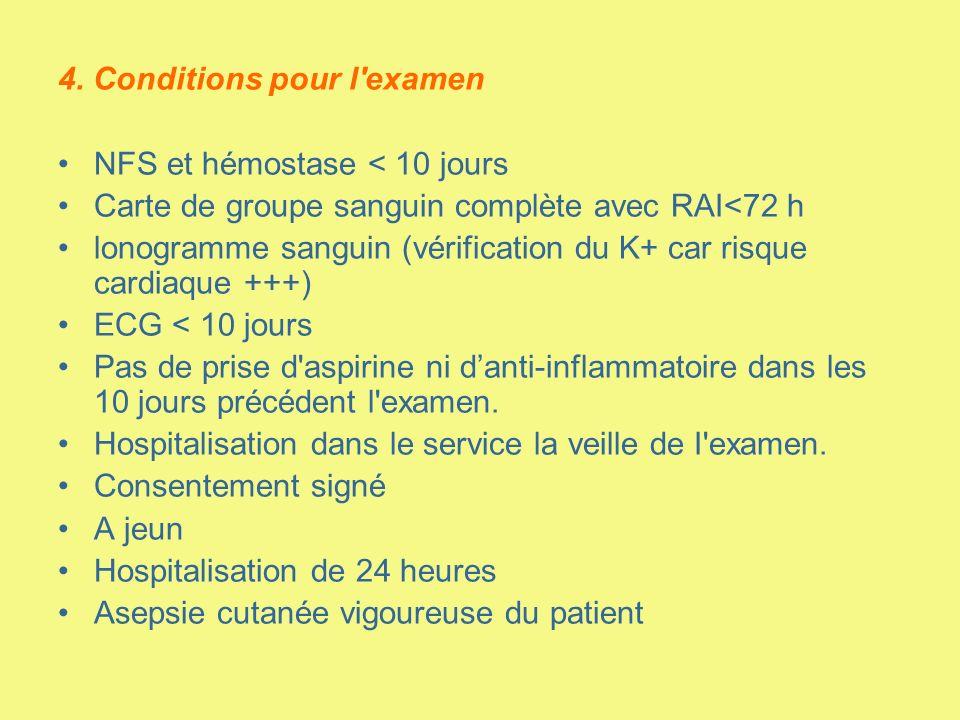 4. Conditions pour l'examen NFS et hémostase < 10 jours Carte de groupe sanguin complète avec RAI<72 h lonogramme sanguin (vérification du K+ car risq