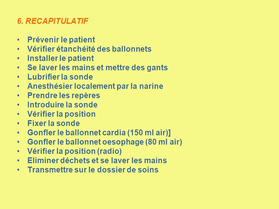 6. RECAPITULATIF Prévenir le patient Vérifier étanchéité des ballonnets Installer le patient Se laver les mains et mettre des gants Lubrifier la sonde
