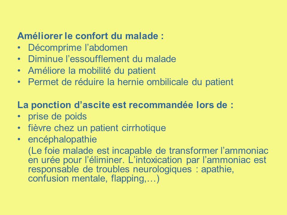 Améliorer le confort du malade : Décomprime labdomen Diminue lessoufflement du malade Améliore la mobilité du patient Permet de réduire la hernie ombi