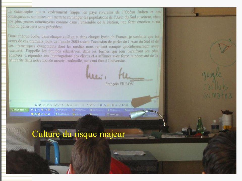 autour de la culture du risque majeur, par une approche scientifique et technologique Un programme éducatif en miieu scolaire, Culture du risque majeu
