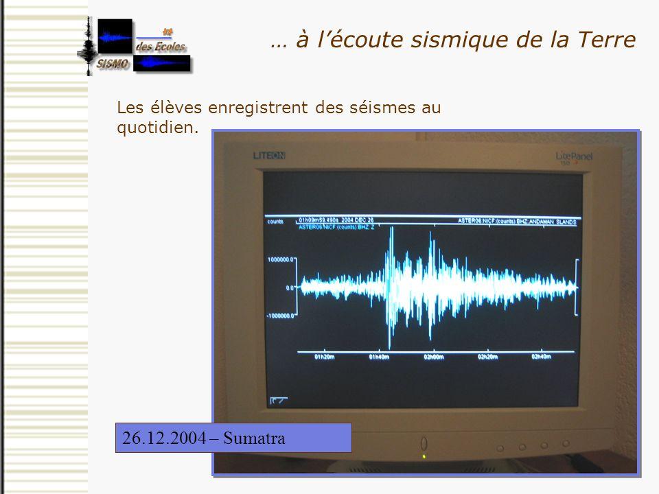 Les élèves enregistrent des séismes au quotidien. … à lécoute sismique de la Terre 25.02.2001 – Golfe de Gênes26.12.2004 – Sumatra