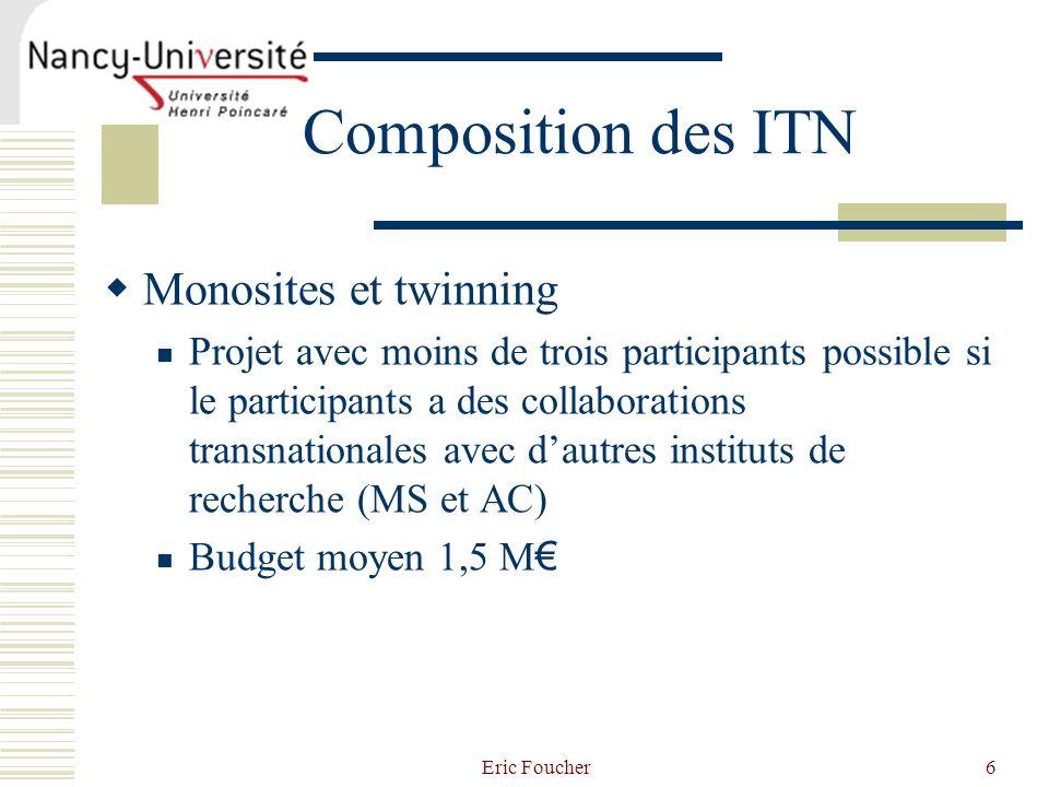 Eric Foucher6 Composition des ITN Monosites et twinning Projet avec moins de trois participants possible si le participants a des collaborations trans