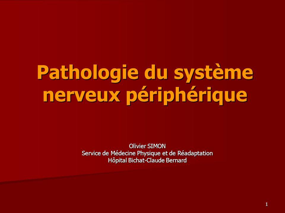 1 Pathologie du système nerveux périphérique Olivier SIMON Service de Médecine Physique et de Réadaptation Hôpital Bichat-Claude Bernard