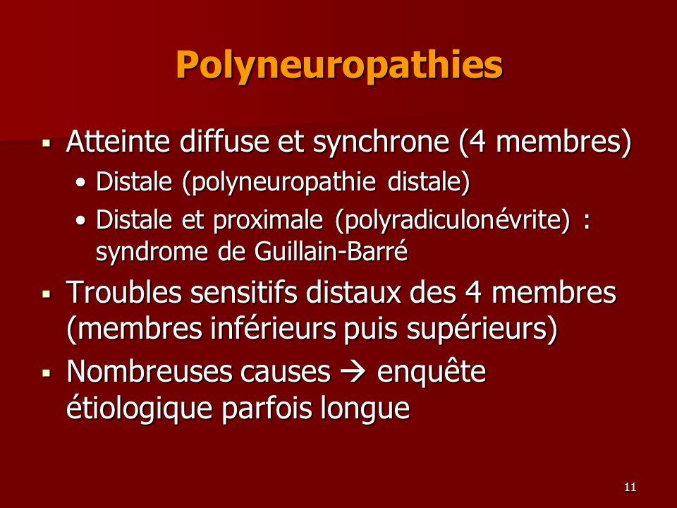 11 Polyneuropathies Atteinte diffuse et synchrone (4 membres) Atteinte diffuse et synchrone (4 membres) Distale (polyneuropathie distale)Distale (poly