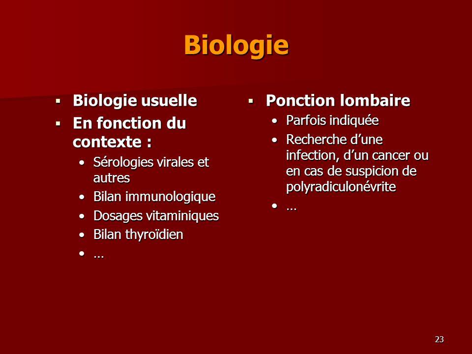 23 Biologie Biologie usuelle Biologie usuelle En fonction du contexte : En fonction du contexte : Sérologies virales et autresSérologies virales et au