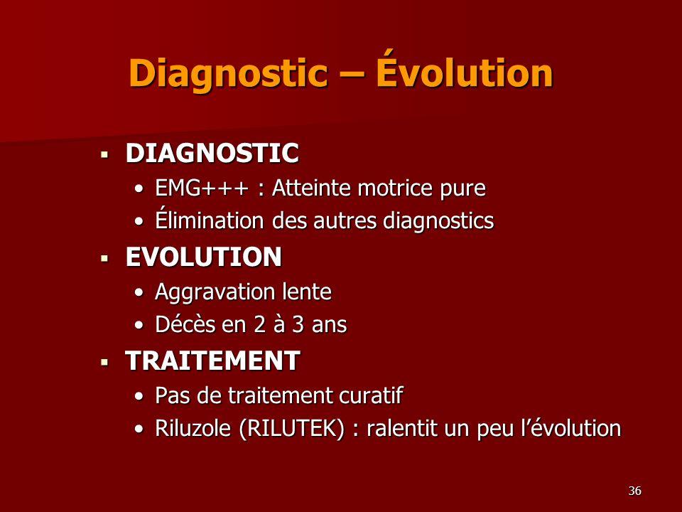 36 Diagnostic – Évolution DIAGNOSTIC DIAGNOSTIC EMG+++ : Atteinte motrice pureEMG+++ : Atteinte motrice pure Élimination des autres diagnosticsÉlimina