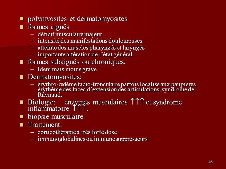 46 polymyosites et dermatomyosites polymyosites et dermatomyosites formes aiguës formes aiguës –déficit musculaire majeur –intensité des manifestation