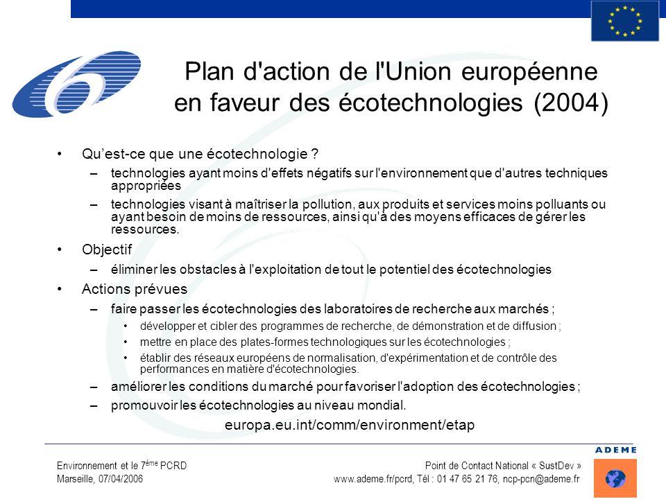 Environnement et le 7 ème PCRD Point de Contact National « SustDev » Marseille, 07/04/2006 www.ademe.fr/pcrd, Tél : 01 47 65 21 76, ncp-pcn@ademe.fr P