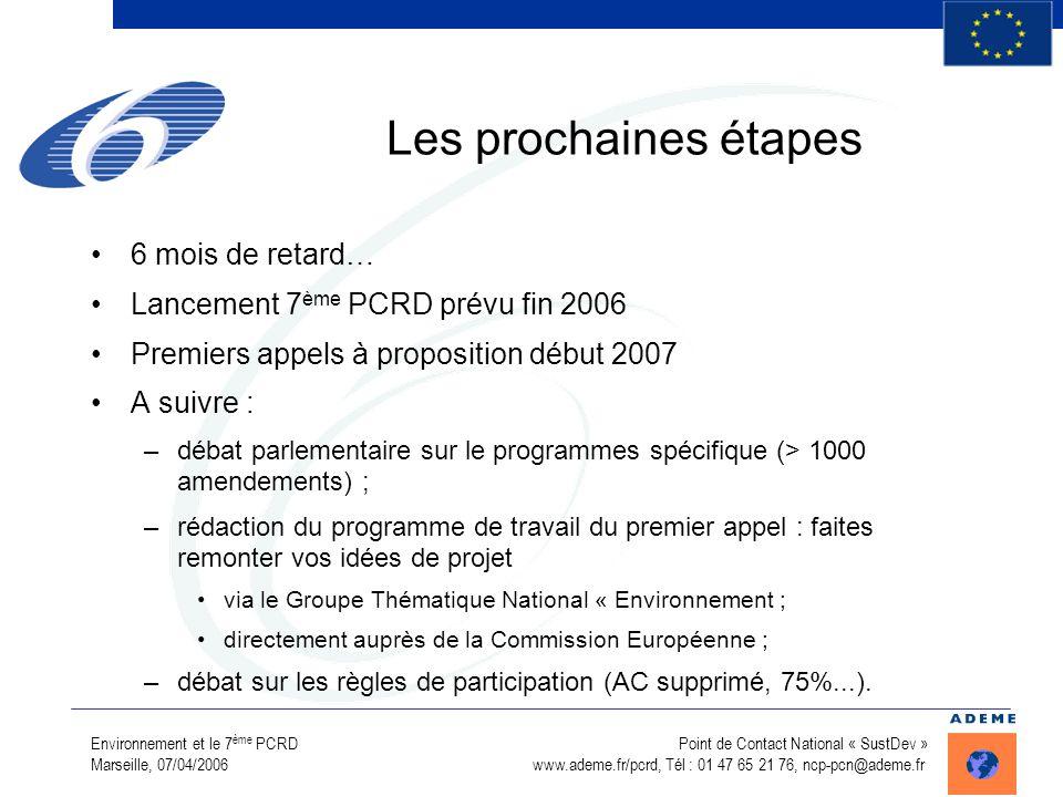 Environnement et le 7 ème PCRD Point de Contact National « SustDev » Marseille, 07/04/2006 www.ademe.fr/pcrd, Tél : 01 47 65 21 76, ncp-pcn@ademe.fr L