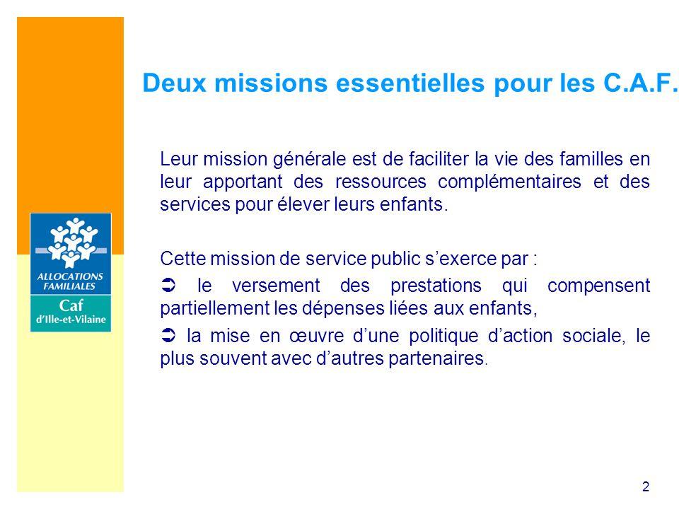 2 Deux missions essentielles pour les C.A.F. Leur mission générale est de faciliter la vie des familles en leur apportant des ressources complémentair