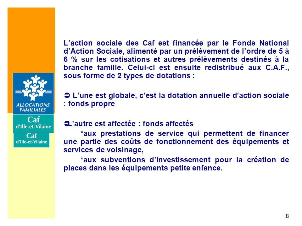 8 Laction sociale des Caf est financée par le Fonds National dAction Sociale, alimenté par un prélèvement de lordre de 5 à 6 % sur les cotisations et