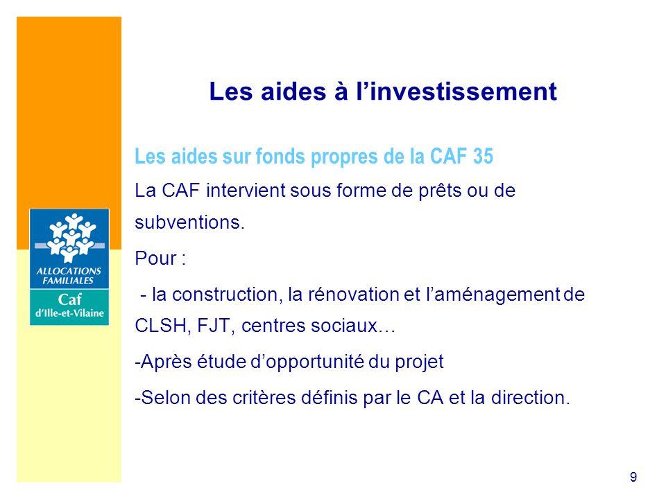 9 Les aides à linvestissement Les aides sur fonds propres de la CAF 35 La CAF intervient sous forme de prêts ou de subventions. Pour : - la constructi