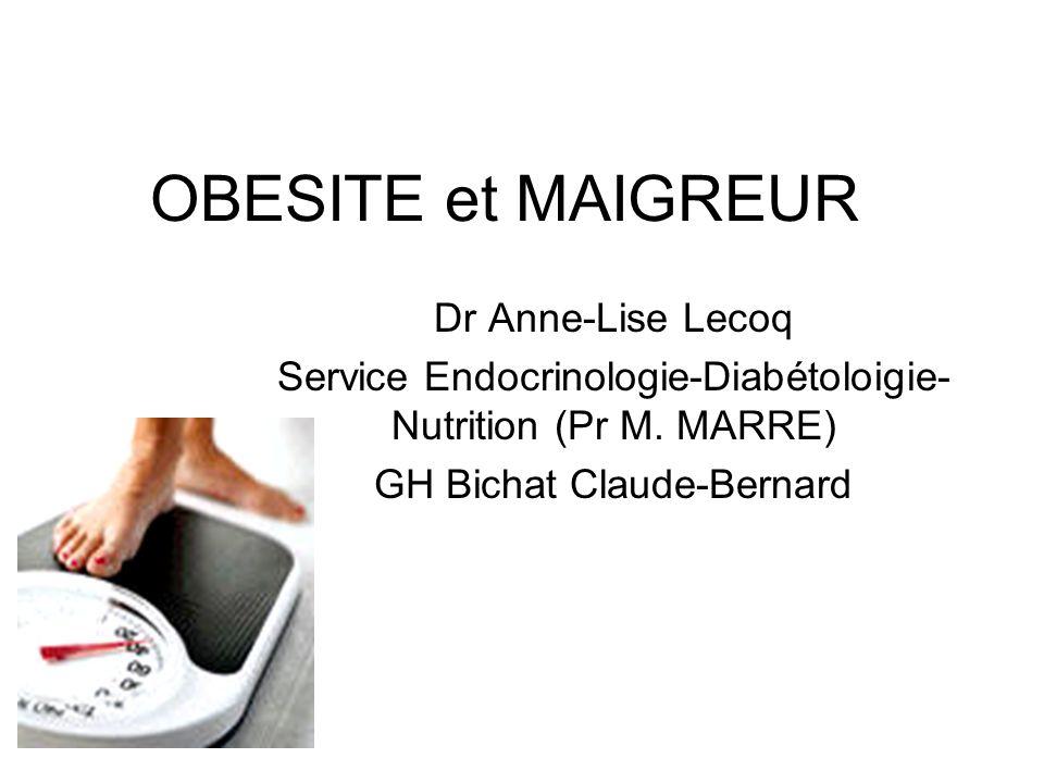 OBESITE et MAIGREUR Dr Anne-Lise Lecoq Service Endocrinologie-Diabétoloigie- Nutrition (Pr M. MARRE) GH Bichat Claude-Bernard