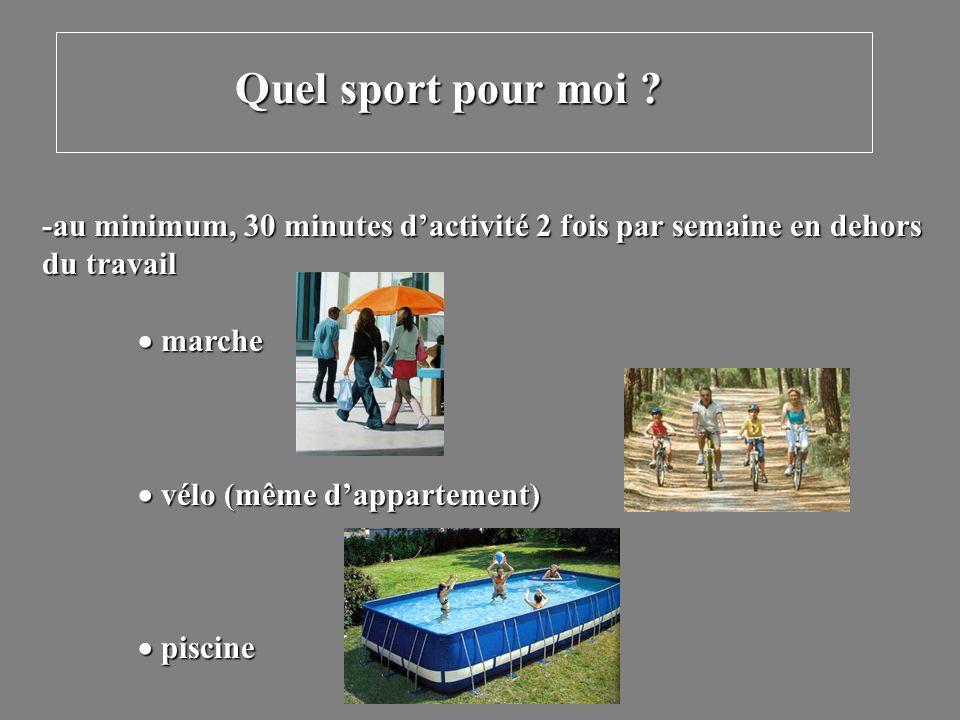 -au minimum, 30 minutes dactivité 2 fois par semaine en dehors du travail marche marche vélo (même dappartement) vélo (même dappartement) piscine pisc