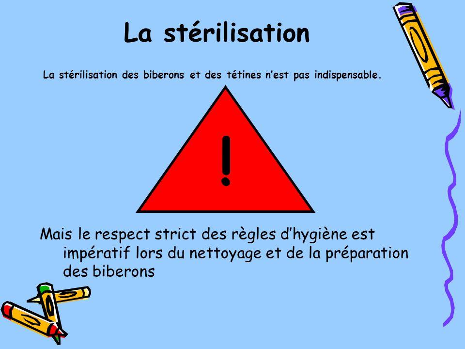 La stérilisation Mais le respect strict des règles dhygiène est impératif lors du nettoyage et de la préparation des biberons La stérilisation des bib