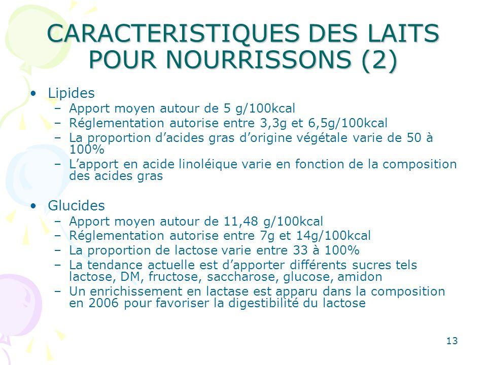 13 CARACTERISTIQUES DES LAITS POUR NOURRISSONS (2) Lipides –Apport moyen autour de 5 g/100kcal –Réglementation autorise entre 3,3g et 6,5g/100kcal –La