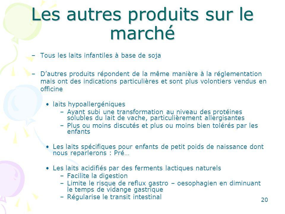 20 Les autres produits sur le marché –Tous les laits infantiles à base de soja –Dautres produits répondent de la même manière à la réglementation mais