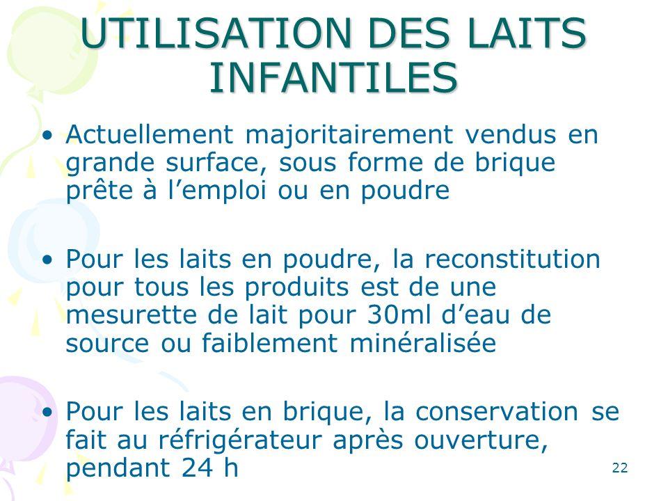 22 UTILISATION DES LAITS INFANTILES Actuellement majoritairement vendus en grande surface, sous forme de brique prête à lemploi ou en poudre Pour les