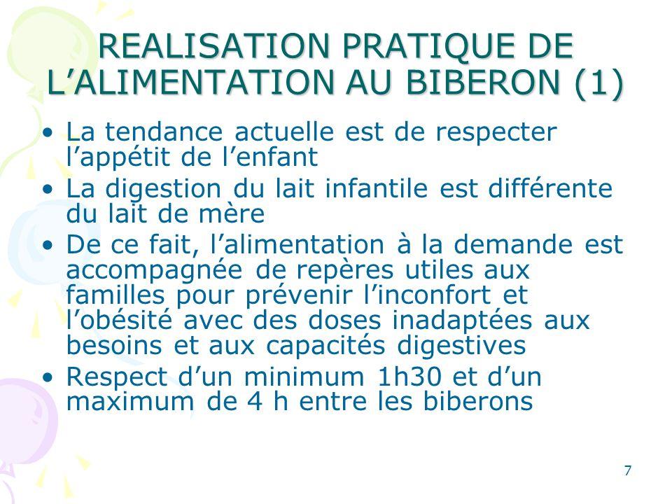 7 REALISATION PRATIQUE DE LALIMENTATION AU BIBERON (1) La tendance actuelle est de respecter lappétit de lenfant La digestion du lait infantile est di