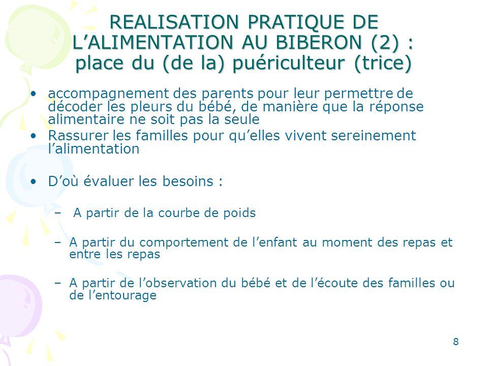 8 REALISATION PRATIQUE DE LALIMENTATION AU BIBERON (2) : place du (de la) puériculteur (trice) accompagnement des parents pour leur permettre de décod