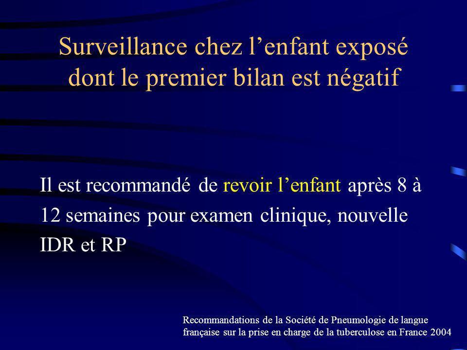 Surveillance chez lenfant exposé dont le premier bilan est négatif Il est recommandé de revoir lenfant après 8 à 12 semaines pour examen clinique, nou
