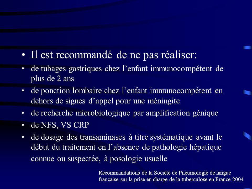 Il est recommandé de ne pas réaliser: de tubages gastriques chez lenfant immunocompétent de plus de 2 ans de ponction lombaire chez lenfant immunocompétent en dehors de signes dappel pour une méningite de recherche microbiologique par amplification génique de NFS, VS CRP de dosage des transaminases à titre systématique avant le début du traitement en labsence de pathologie hépatique connue ou suspectée, à posologie usuelle Recommandations de la Société de Pneumologie de langue française sur la prise en charge de la tuberculose en France 2004