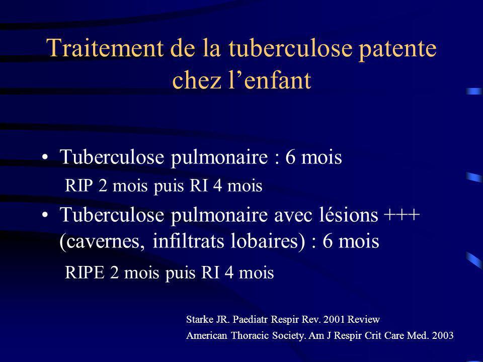 Traitement de la tuberculose patente chez lenfant Tuberculose pulmonaire : 6 mois RIP 2 mois puis RI 4 mois Tuberculose pulmonaire avec lésions +++ (cavernes, infiltrats lobaires) : 6 mois RIPE 2 mois puis RI 4 mois Starke JR.