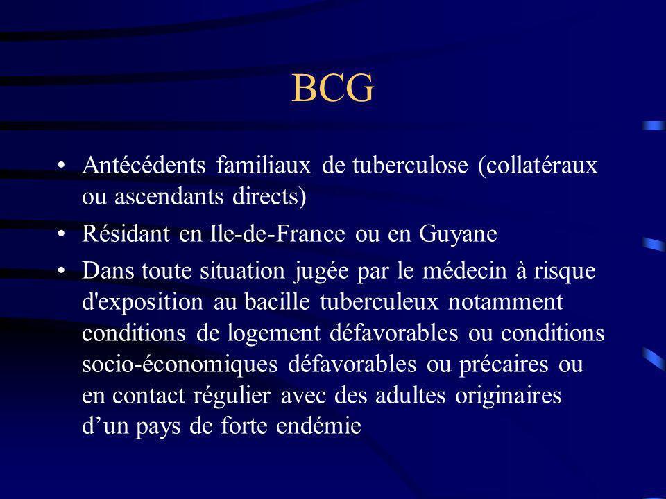 BCG Antécédents familiaux de tuberculose (collatéraux ou ascendants directs) Résidant en Ile-de-France ou en Guyane Dans toute situation jugée par le