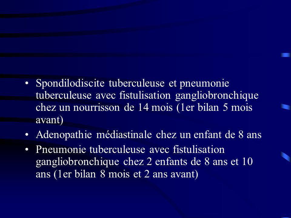 Spondilodiscite tuberculeuse et pneumonie tuberculeuse avec fistulisation gangliobronchique chez un nourrisson de 14 mois (1er bilan 5 mois avant) Adenopathie médiastinale chez un enfant de 8 ans Pneumonie tuberculeuse avec fistulisation gangliobronchique chez 2 enfants de 8 ans et 10 ans (1er bilan 8 mois et 2 ans avant)