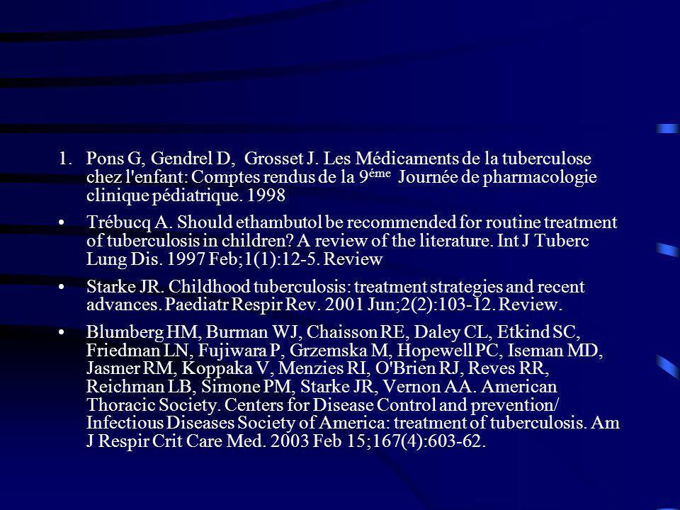 1.Pons G, Gendrel D, Grosset J. Les Médicaments de la tuberculose chez l'enfant: Comptes rendus de la 9 éme Journée de pharmacologie clinique pédiatri