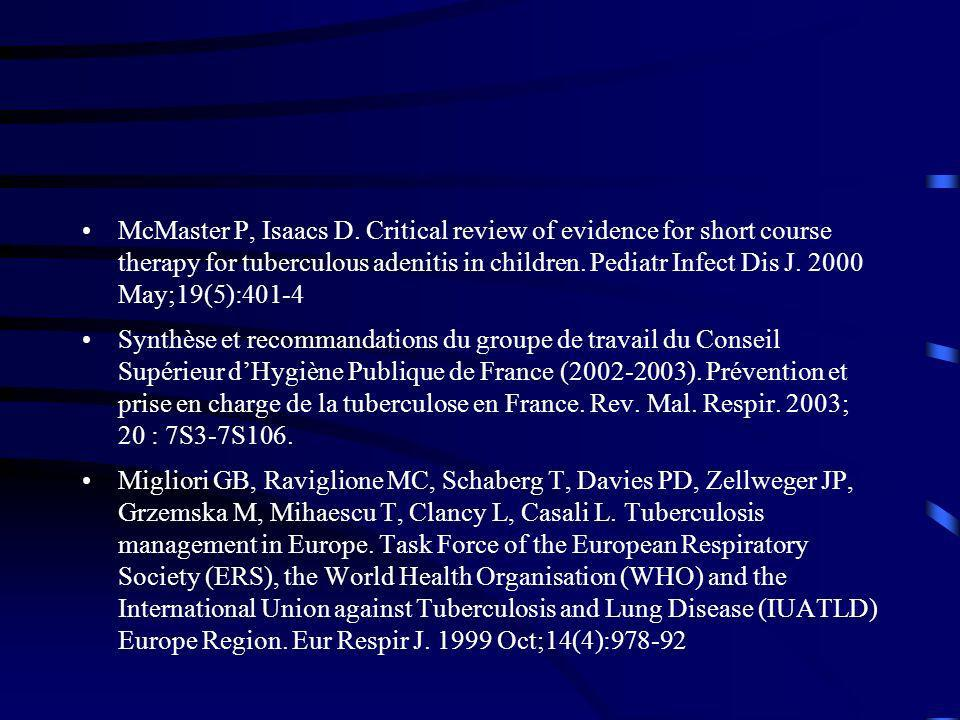 McMaster P, Isaacs D. Critical review of evidence for short course therapy for tuberculous adenitis in children. Pediatr Infect Dis J. 2000 May;19(5):