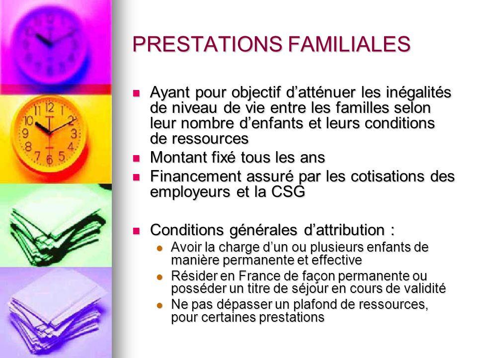 PRESTATIONS FAMILIALES Ayant pour objectif datténuer les inégalités de niveau de vie entre les familles selon leur nombre denfants et leurs conditions