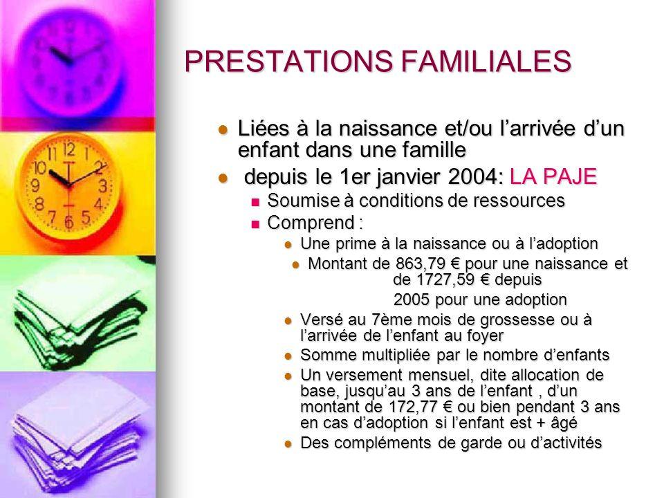 PRESTATIONS FAMILIALES Liées à la naissance et/ou larrivée dun enfant dans une famille Liées à la naissance et/ou larrivée dun enfant dans une famille