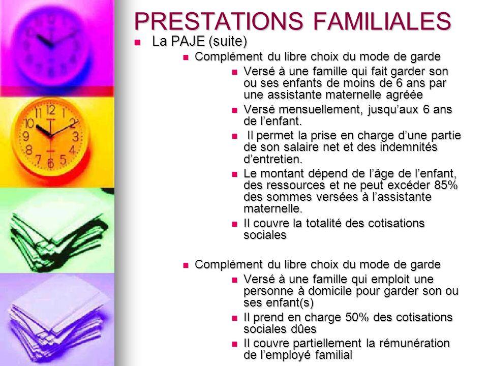 PRESTATIONS FAMILIALES La PAJE (suite) La PAJE (suite) Complément du libre choix du mode de garde Complément du libre choix du mode de garde Versé à u