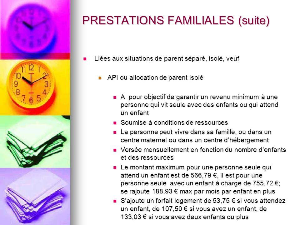PRESTATIONS FAMILIALES (suite) Liées aux situations de parent séparé, isolé, veuf Liées aux situations de parent séparé, isolé, veuf API ou allocation