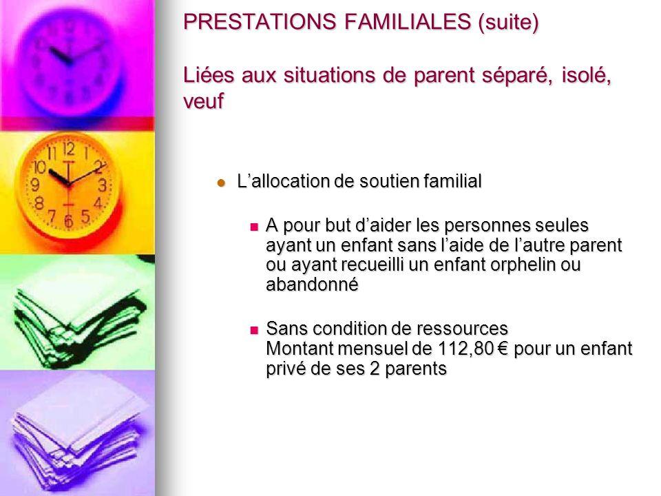 PRESTATIONS FAMILIALES (suite) Liées aux situations de parent séparé, isolé, veuf Lallocation de soutien familial Lallocation de soutien familial A po