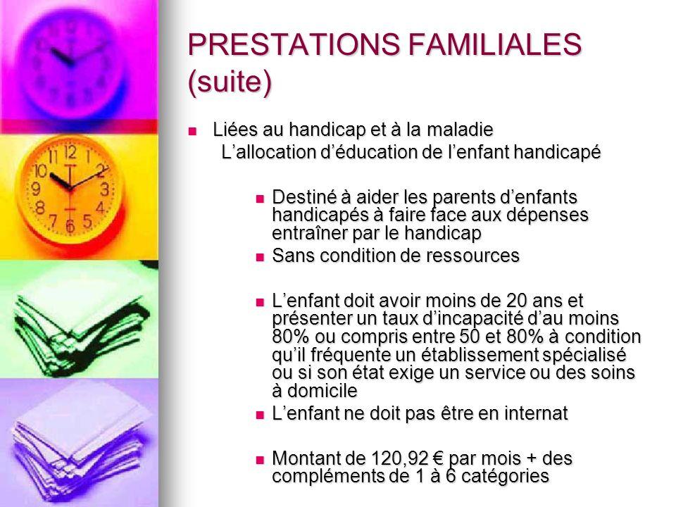 PRESTATIONS FAMILIALES (suite) Liées au handicap et à la maladie Liées au handicap et à la maladie Lallocation déducation de lenfant handicapé Destiné