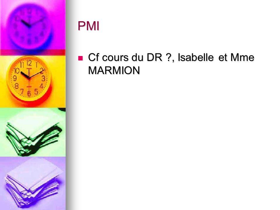 PMI Cf cours du DR ?, Isabelle et Mme MARMION Cf cours du DR ?, Isabelle et Mme MARMION