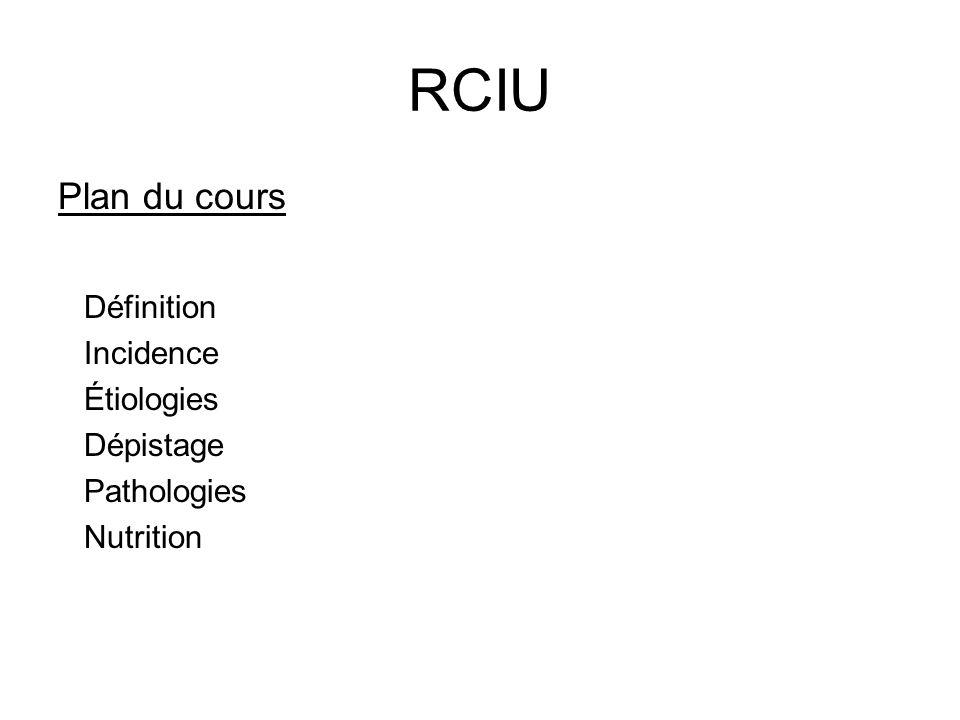 RCIU Plan du cours Définition Incidence Étiologies Dépistage Pathologies Nutrition